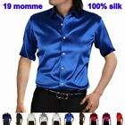 Mens 19Momme 100% Pure silk Dress Business Formal Shirts short Sleeve Size S-9XL
