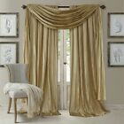 Set 2 Solid Gold Faux Silk Curtains Panels Drapes Pair WI...