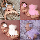 Newborn Baby Girl Boy Pink Angel Wings Costume Photo Photography Prop Outfits UK