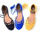 Women's Sandal Slip On Flats Open Toe Lace Up Strappy Casual New Shoes Summer