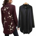 Floral Embroidery Backside Long Shirt Long Sleeve Blouse Colors  Women Outfit