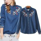 Embroidered Floral Long Sleeve Jeans Denim Shirt Blouse Top Women Statement