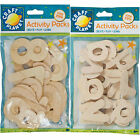 Craft Planet Natural Wooden Alphabet / Numbers Kids Art & Craft Embellishments