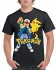 POKEMON Ash & Pikachu Short Sleeve Novelty T-Shirt Black