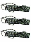 3 Pack Green Frame Readers Fashion Reading Glasses with Slim Soft Sleeve Cases