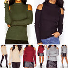 Women's Cut Out Shoulder High Neck Sweater Knitted Pullover Jumper Tops Blouse