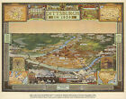 1939 Pictorial Map Pittsburgh Vintage Genealogy Family History Wall Art Poster