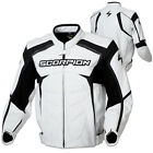 Scorpion Mens White/Black SJ2 Vented Leather Motorcycle Jacket