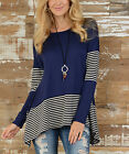 Black Womens Striped Long Sleeve T-Shirt Splicing Irregular Ladies Blouse Tops