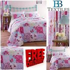 Catherine Lansfield Gypsy Patchwork Floral Pink Quilt Cover Duvet  Bedding Set