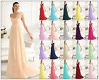 Stock One-Shoulder Bridesmaids Dress Chiffon Evening Party Gowns 6-16 + Custom