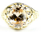 • R004-14, Champagne CZ, 14k Yellow Gold Ladies Ring -Handmade