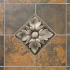 "Signature Hardware 4"" Aluminum Wall Tile with Wall Flower Design"