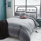 CATHERINE LANSFIELD GREY DENIM LIKE POLYCOTTON BEDDING QUILT DUVET COVER SET
