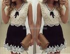 Fashion Women's Black & White lace Cocktail Dress vintage Casual Mini Dress