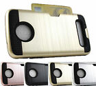 for Motorola Moto Z Play XT1635 Brushed Texture Hybrid Card Case Cover + Prytool