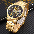 Nice Gift- Mens Golden Tone Automatic Mechanical Skeleton Wrist Watch Steel Band