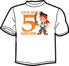 Jake and The Never Land Pirates BIRTHDAY AGE  WHITE T SHIRT freepost