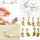 100/300Pcs New Silver Gold Plated Metal Crimp End Caps Beads Jewelry Charm