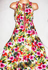 GIRLS RED GREEN MIX TROPICAL FLORAL PRINT BOHO LONG LENGTH COTTON MAXI DRESS