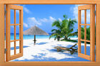 Wall sticker, 3D window, Removable, Reusable,wood or vinyl frame Ocean style 013