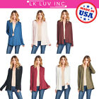 US Women Natural Bamboo Long Sleeve Cardigan Open Front Draped Solid Casual Plus