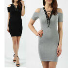 New Women V Neck Cut Out Shoulder Tops T-Shirt Lace-up Plunge Mini Dress 8 - 14