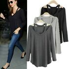 Fashion Women V-neck Top Pullover Long Sleeve T-shirt Casual Loose Cotton Blouse