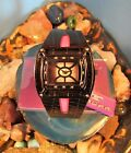 New Tavan Ladies Biker Double Tier Black Metal Bezel Watch Rhinestones L. Band