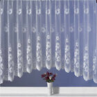 TOP QUALITY JARDINIERE DAISY FLORAL NET CURTAIN PANEL 18 SIZES WHITE ROD POCKET