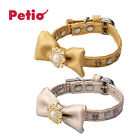 Petio Design-Deluxe Pearl Bow Cute Soft Cozy Faux Leather Safety Collar for Cat