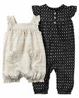 New Carter's 2 Pack Girl Rompers Gold Print & Black Floral NB 3m 6m 9m NWT Outfi