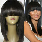 New Italian Yaki Full Lace Wig For Black Women Kinky Straight Wig With Bangs