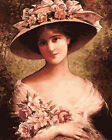 Victorian Lady Vintage Hand painted Design Tapestry Needlepoint Canvas 204