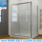Sliding Shower Door Enclosure 8mm Easy Clean Glass Screen Cubicle + Side Panel