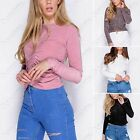 NEW LADIES RUCHED FRONT SLINKY TOP CROPPED LOOK WOMENS SILKY TOPS LONG SLEEVE