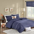 Boys Modern Blue Reversible Cotton Quilted Coverlet AND Pillow