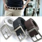 Fashion Black Brown Men's Casual Jean 35MM Belt Plain Solid Leather Buckle