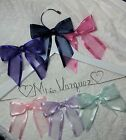 Wedding Dress Hanger Bride Name your choice 12 bow colors White Hanger gift
