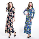 Fashion Women Spring Floral V Neck Stretch Maxi Dress Party Casual Long Sleeve