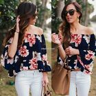 Sexy Women Off Shoulder 3/4 Sleeve Floral Ruffles Blouse Tops N98B