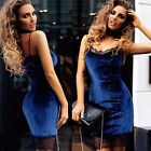 Womens Long Sleeve Velvet Bodycon Dress Ladies Evening Party Lace Cocktail Dress