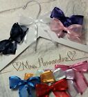 Wedding dress Hanger Bride Name White Gold wire choice of 12 bow colors