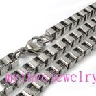 "6mm Silver Tone 316L Stainless Steel Box Chain Necklace 14"" - 36"""