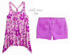 NWT JUSTICE Girls 6 7  Purple Riley Printed Tank & Purple Shorts Outfit