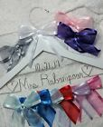 Wedding Dress Hanger Bride Name with date your choice of 12 bow colors White