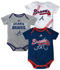 Atlanta Braves Infant Bodysuit MLB Three Strikes 3-piece Baby Creeper Tee