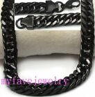 23 inches Long Lasting IP ION Black 10mm Cuban Curb Chain Necklace / Bracelet