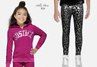 NWT JUSTICE 10 12 Fuchsia Stripe Plush Zip Hoodie & Animal Print Leggings Outfit
