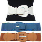 Urban Women Cinch Fashion Belt Elastic Stretch Waist Band Wide Hip S~XL Black